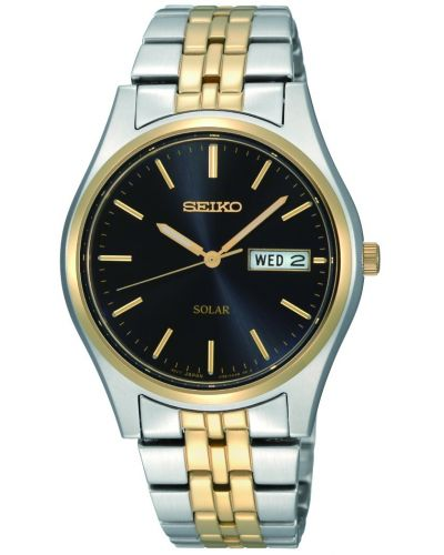 Mens Seiko Solar Men's Solar powered watch with two colour bracelet and date SNE034P1 Watch