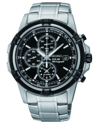 Mens Seiko Solar Alarm Chronograph SSC147P1 Watch