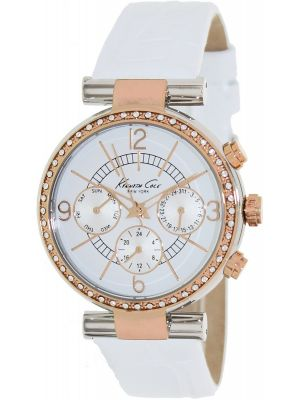 Womens Kenneth Cole Dress Sport crystal set white leather strap KC2748 Watch