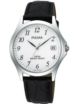 Mens Pulsar  Classic stainless steel black leather strap PXH565X1 Watch