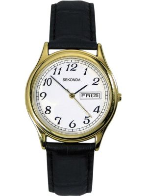 Mens Sekonda gold plated black leather strap 3925.00 Watch