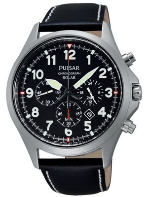 Mens Pulsar  Sports stainless steel black leather chrono px5007x1 Watch