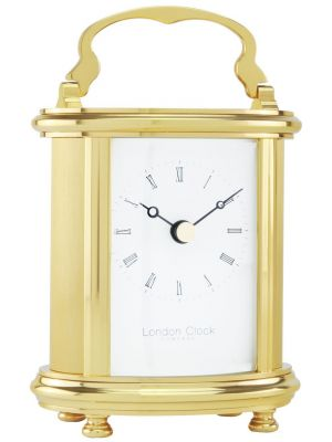Solid Brass Oval Quartz Carriage Clock and Leather Case | 02065
