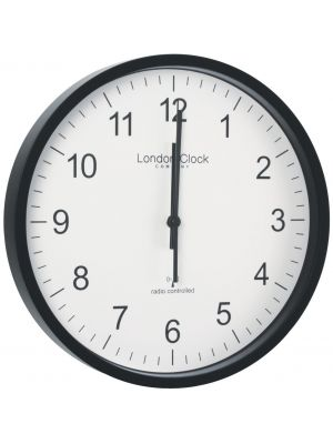 Radio Controlled Office Wall Clock with Black Resin Case | 36033