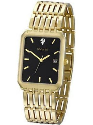 Mens Accurist Precious Metals 9ct Gold black dial GD1462 Watch