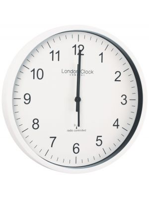 Radio Controlled Office Wall Clock with White Resin Case | 36032