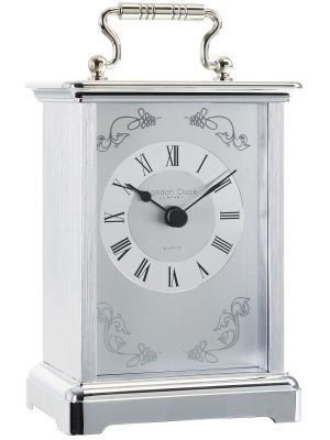 Carriage Clock with Etched Detail Dial and Chrome Case  | 03001