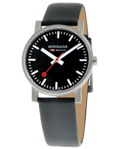 Mens Mondaine Evo Quartz 35mm Black Strap A658.30300.14SBB Watch