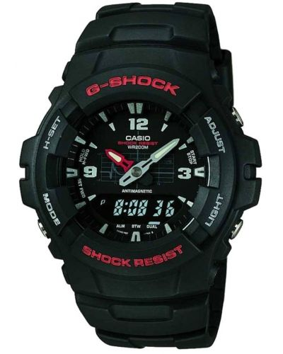 Mens Casio G Shock Black and red  G-100-1BVMUR Watch