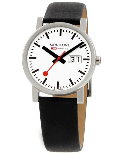 Mens Mondaine Evo 35mm Big Date Black Strap A669.30300.11SBB Watch