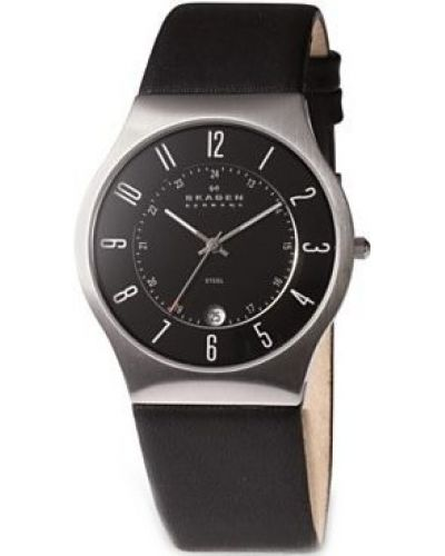 Mens Skagen Grenen black leather strap 233XXLSLB Watch