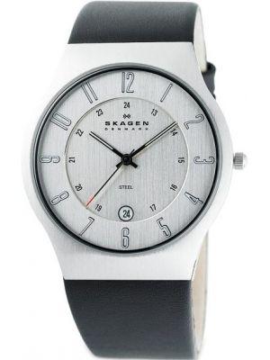 Mens Skagen Grenen stainless steel leather strap 233XXLSLC Watch