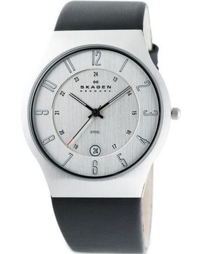 Mens Skagen Grenen stainless steel leather strap 233XXLSLC Watch