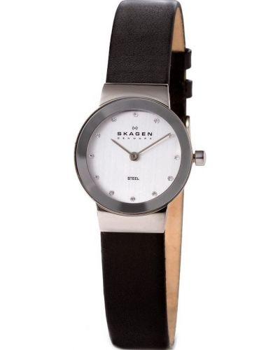 Womens Skagen Freja stainless steel black leather strap 358XSSLBC Watch