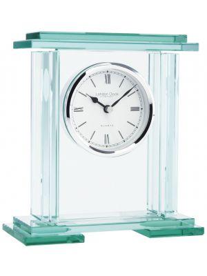 Heavy Glass Plinth Mantel Clock with Roman Dial | 05089