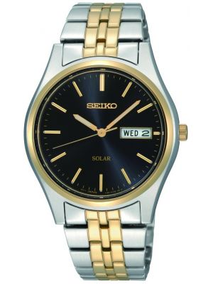 Seiko Solar Men's Solar powered watch with two colour bracelet and date SNE034P1 Watch