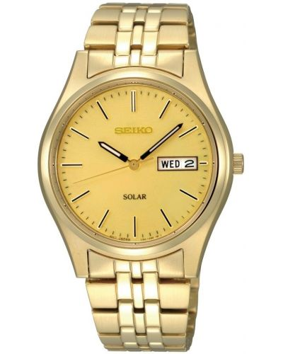 Mens Seiko Solar Men's day and date gold watch with solar power SNE036P1 Watch