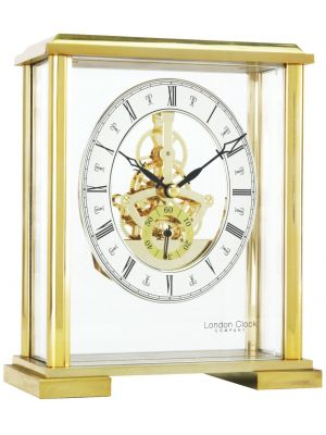 Feature Square Top Skeleton Gold Finish Mantel Clock   02085