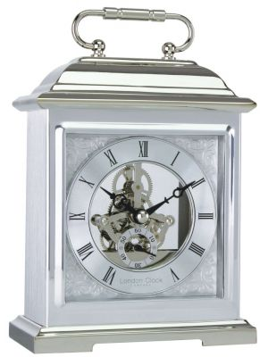 Polished Carriage Clock with Exposed Skeleton Movement | 04107