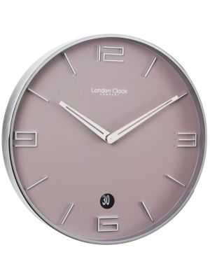 Chocolate Round Steel Cased Wall Clock with Raised Markers   20431