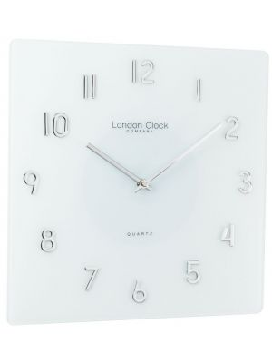 Square White Glass Wall Clock with Raised Chrome Numbers | 20993