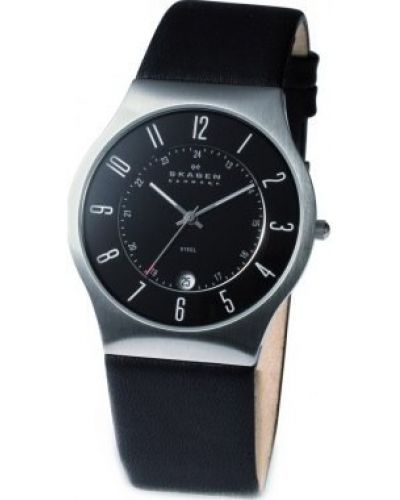 Mens Skagen Grenen stainless steel black leather strap 233XXLSLN Watch