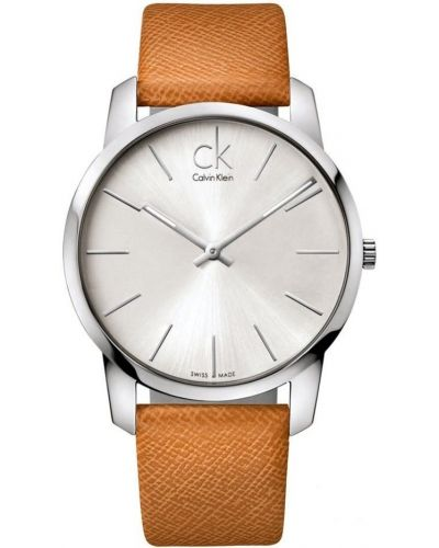 Mens Calvin Klein CITY brown leather strap K2G21138 Watch