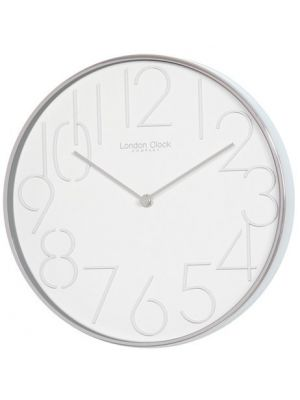 White Minimal Office Wall Clock with Steel Case | 20433