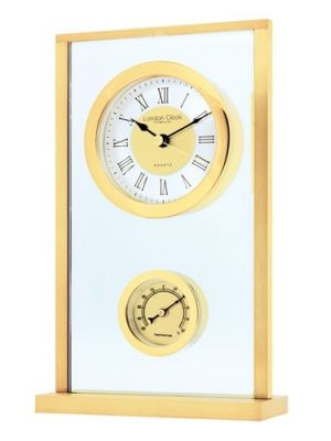 Glass and Brass Finish Thermometer Mantel Clock   04102
