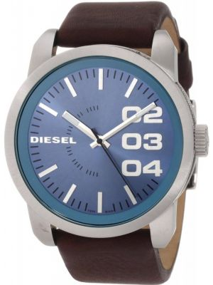 Mens Diesel Double Down stainless steel brown leather strap DZ1512 Watch