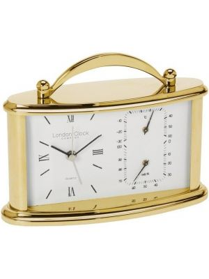 Mini Oval Carriage Clock with Alarm Hygrometer Thermometer | 17169