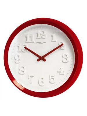 Red Gloss Cased Wall Clock with White Raised Numerals | 20411
