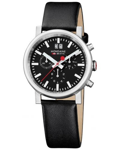 Mens Mondaine Evo Chronograph Date 40mm Black Strap A690.30304.14SBB Watch