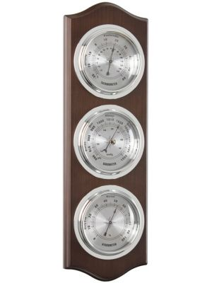 Walnut Finish Barometer Thermometer with Spun Metal Dial | 28051