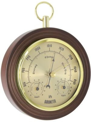 Traditional Gilt Finish Weather Station with Spun Metal Dial | 28046