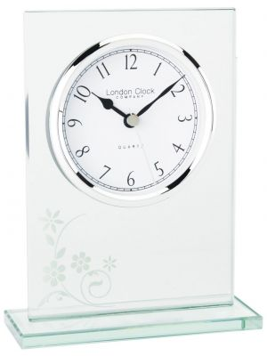 Glass floral flat top mantel clock | 05130