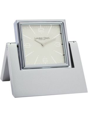 Swivel Silver Picture Frame Travel Clock with Alarm | 32481