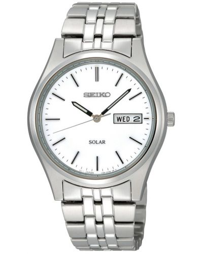 Mens Seiko Solar Men's Steel Solar powered bracelet watch with day and date SNE031P1 Watch