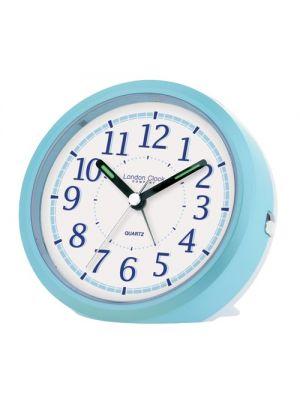 Sky Blue Round Bedside Quartz Alarm Clock | 32490