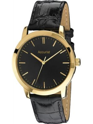 Mens Accurist polished gold plated leather strap MS671B.01 Watch
