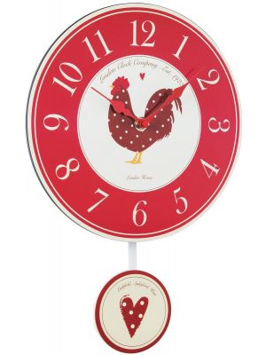 Red Chicken Country Clock with Pendulum | 22326