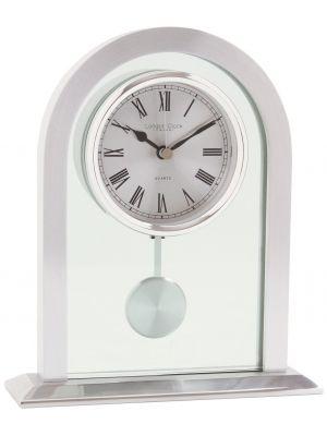 Glass and silver finish pendulum mantel clock | 03074