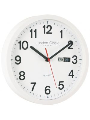 Simple Day Date Office White Wall Clock | 24081