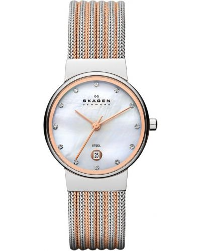 Womens Skagen Ancher stainless steel rose highlighted 355SSRS Watch