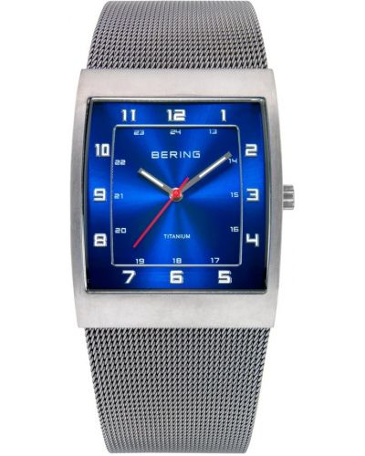 Mens Bering Titanium Grey and blue milanese strap 11233-078 Watch