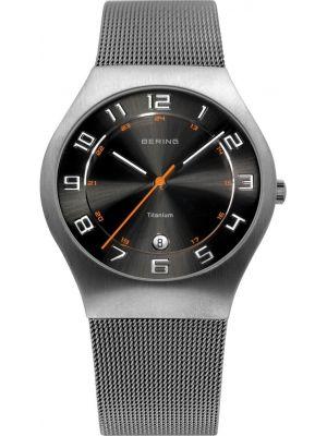 Mens Bering Titanium Grey and black milanese strap 11937-007 Watch