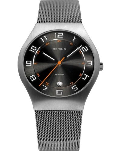 Mens Bering Titanium Grey and black milanese strap 11937-007 Watch
