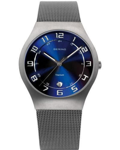 Mens Bering Titanium Grey and blue milanese strap 11937-078 Watch