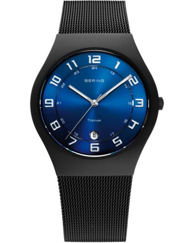 Mens Bering Titanium black milanese strap 11937-227 Watch