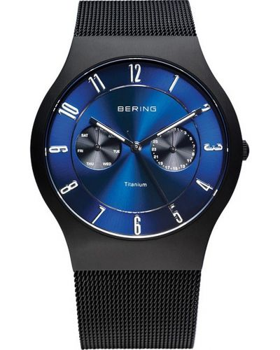 Mens Bering Titanium Black and blue milanese strap 11939-078 Watch